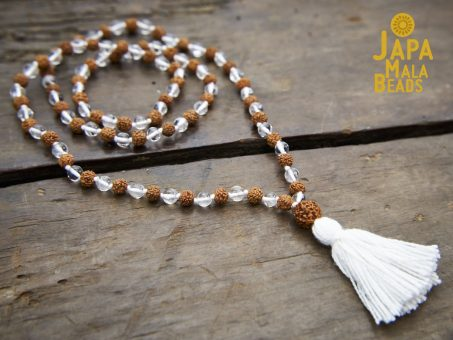 Crystal and Rudraksha Full Mala