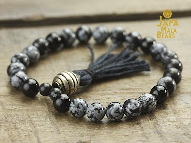 Snowflake Obsidian mala beads