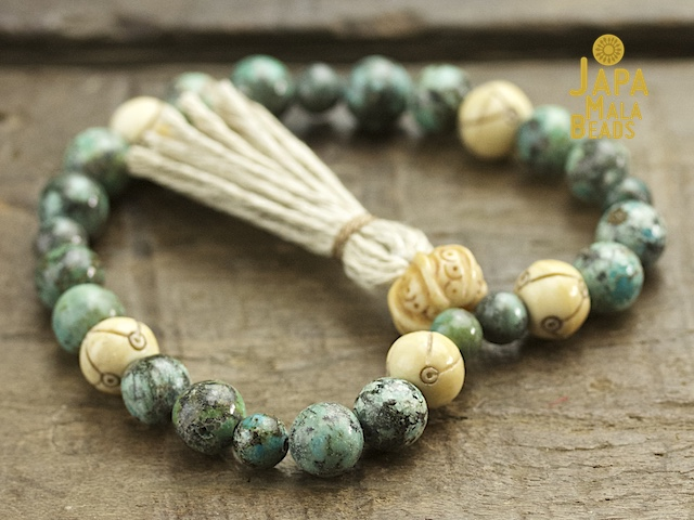 African Turquoise and Bone Mala