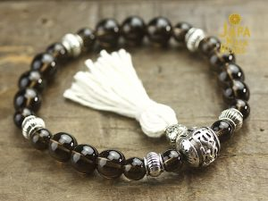 Smoky Quartz and Silver Mala