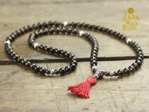 Smoky Quartz and Silver Full Mala