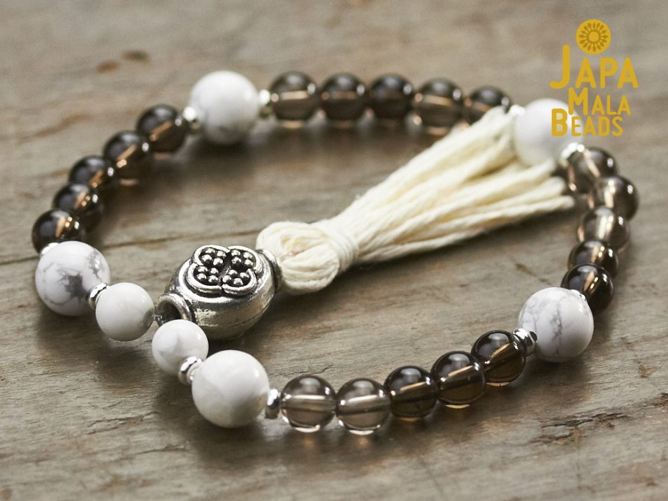 Howlite and Smoky Quartz Bracelet Mala
