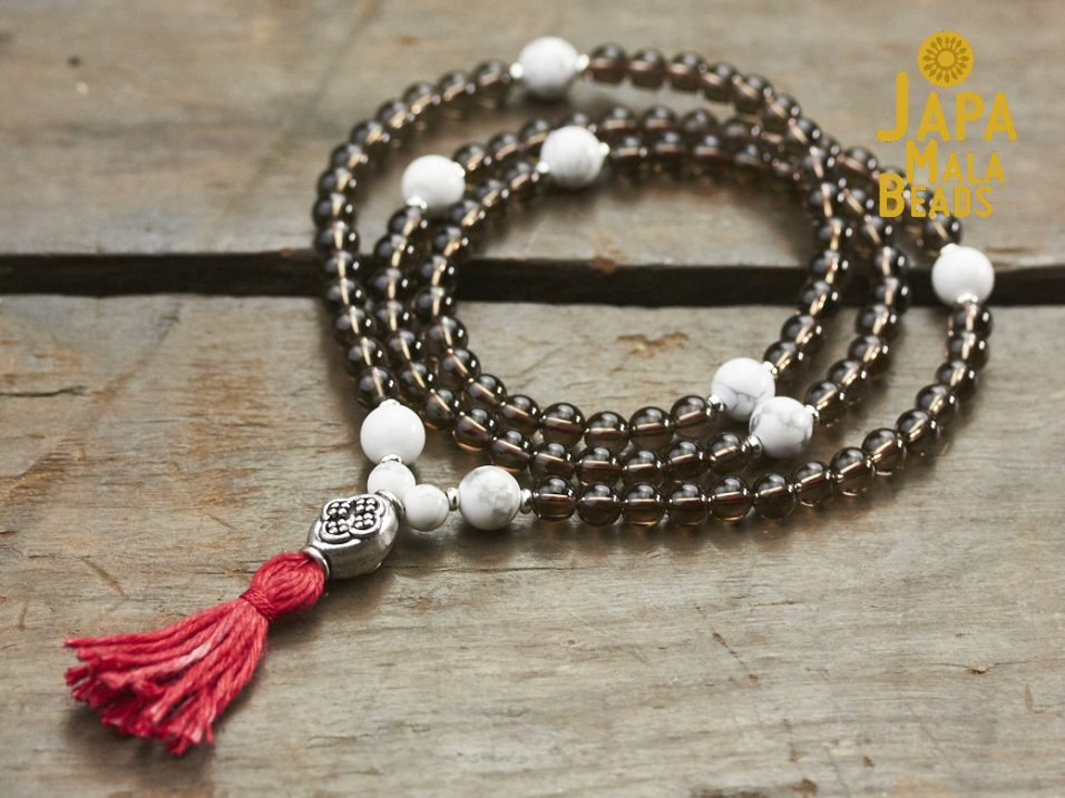 Howlite and Smoky Quartz Full Mala