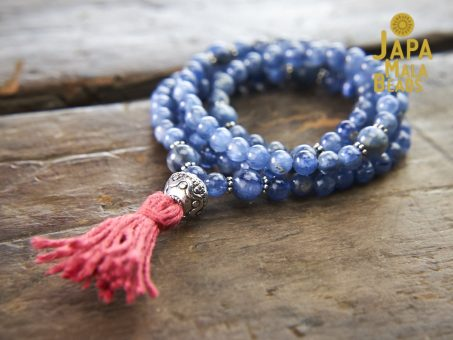 Kyanite and Silver Japa Mala Beads