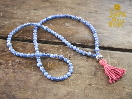 Kyanite and Silver Full necklace Mala 4