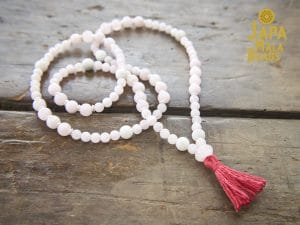 Rose Quartz and White Agate Full Mala
