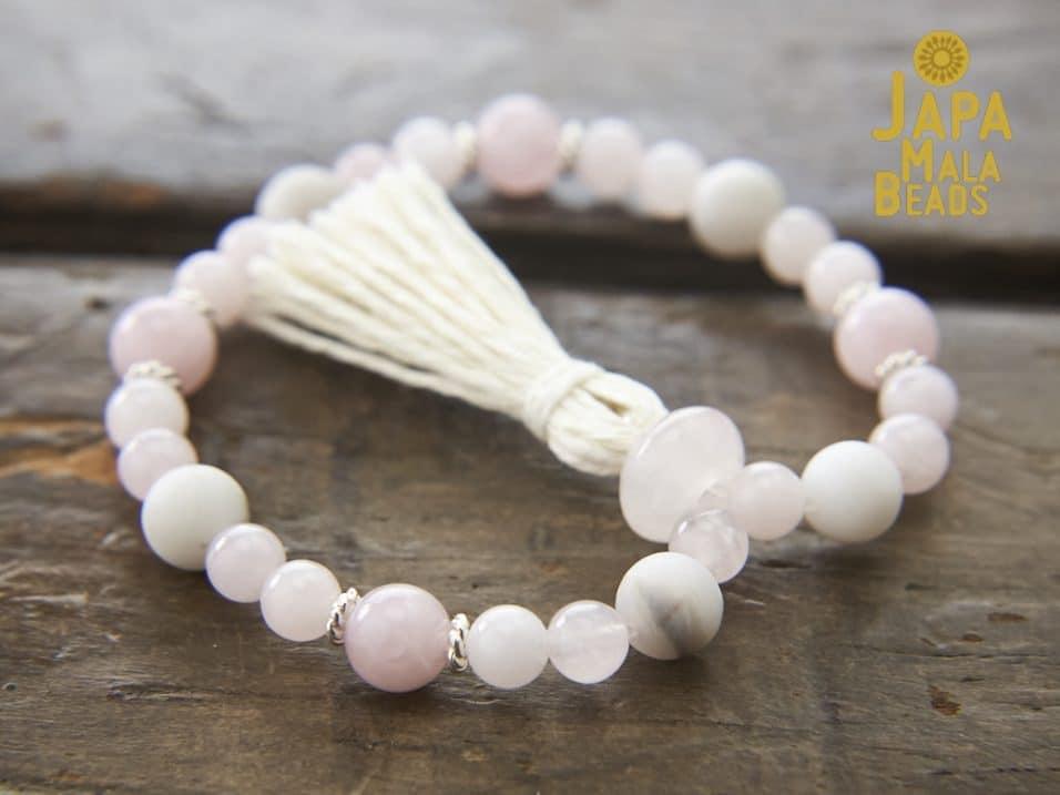Rose Quartz White Agate Wrist Mala