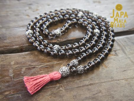 Smoky Quartz and Silver Necklace Mala