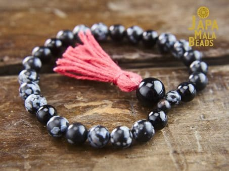 Snowflake Obsidian Bracelet mantra beads