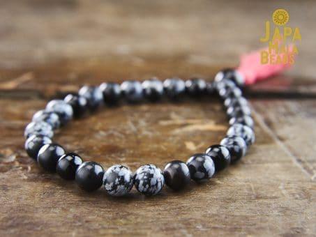 Snowflake Obsidian Bracelet meditation beads