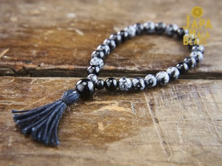 Snowflake Obsidian wrist mala beads