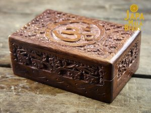 Carved Floral Om Mala Box