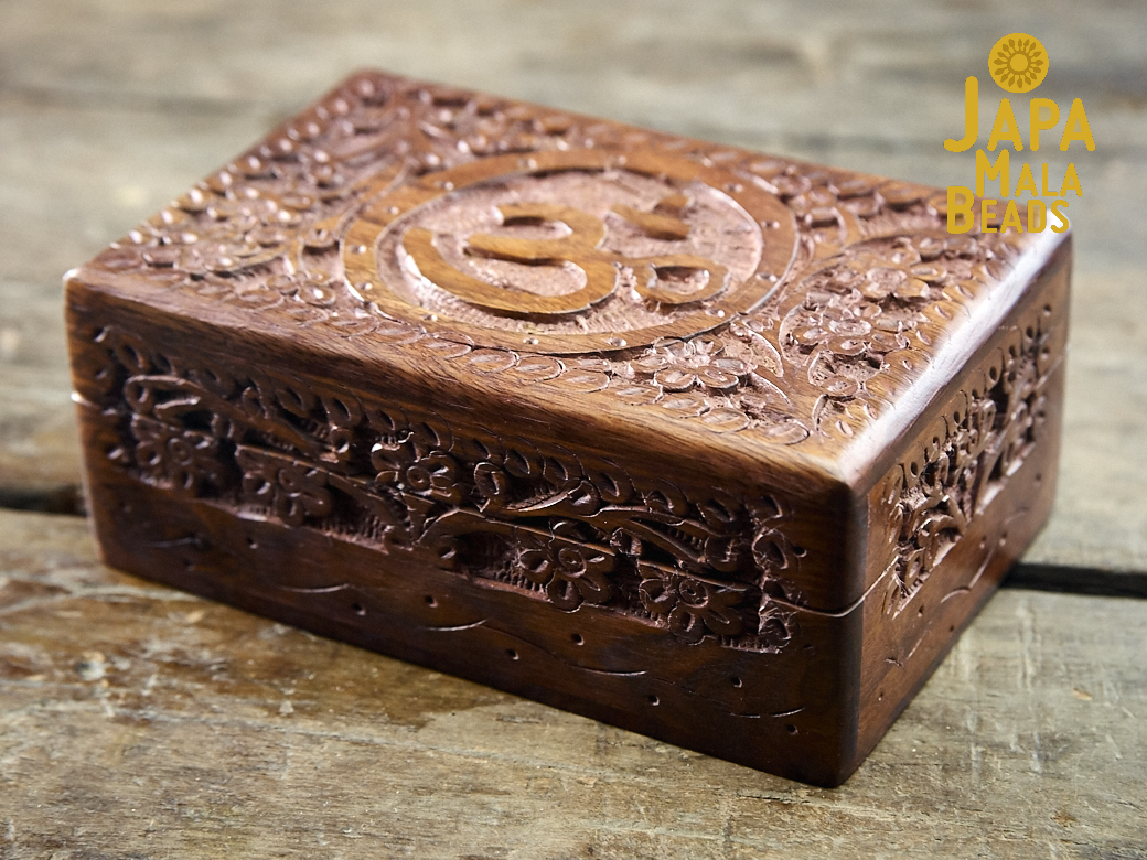 Carved Floral Om Mala Box