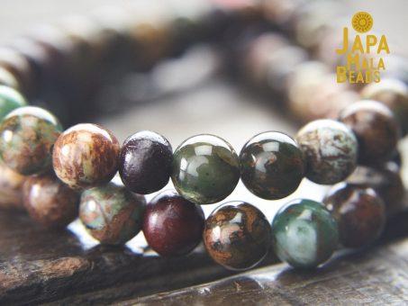 Green Opal & Rosewood Mala Beads