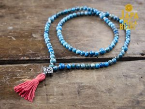 Blue Crazy Lace Agate and Silver Full Mala