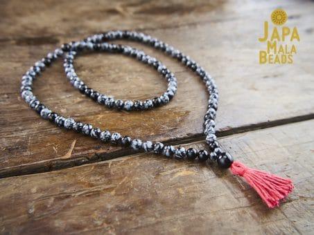 Snowflake Obsidian & Black Onyx full Mala