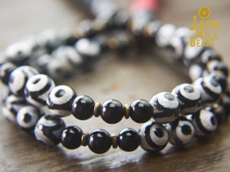 Dzi and Black Agate Mala Beads