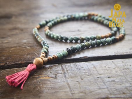 African Turquoise and Meranti Necklace Mala