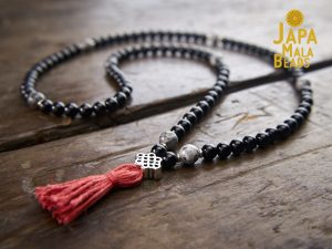 Black Tourmaline and Silver Leaf Jasper Full Mala