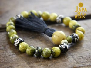 Yellow Turquoise and Bone Wrist Mala