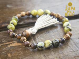 Qinan Sandalwood Yellow Turquoise Mala Beads