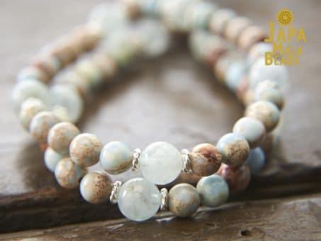 Blue Impression Jasper and Aquamarine Prayer Beads