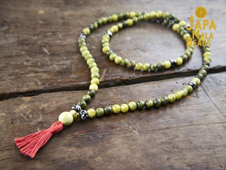 Yellow Turquoise and Bone Full Mala