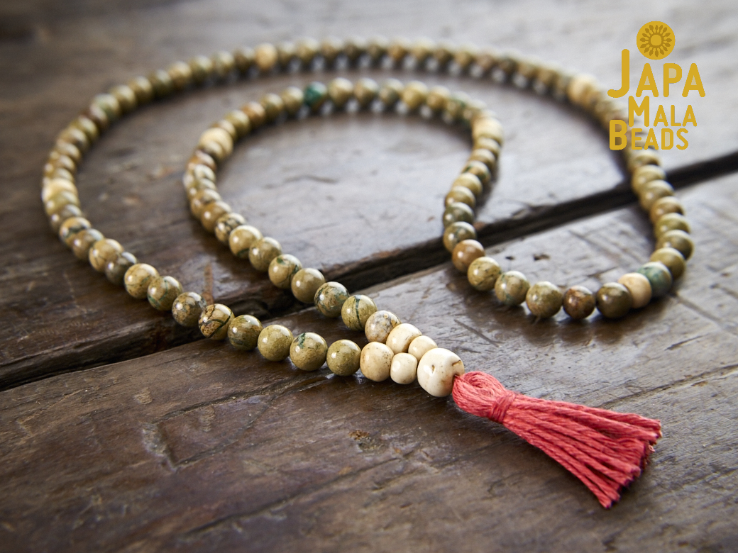 Verdite and Bone Full Mala