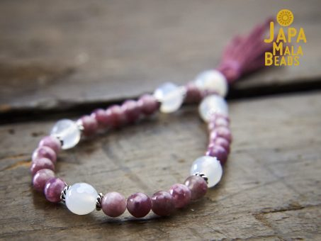 Purple Tourmaline and White Agate Wrist Mala