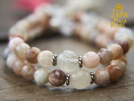 Peach Moonstone Mala Beads
