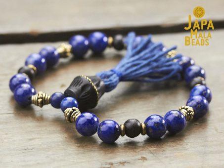 Lapis Lazuli, Brass and Ebony Mala