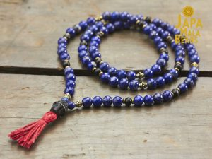 Lapis Lazuli, Brass and Ebony Full Mala