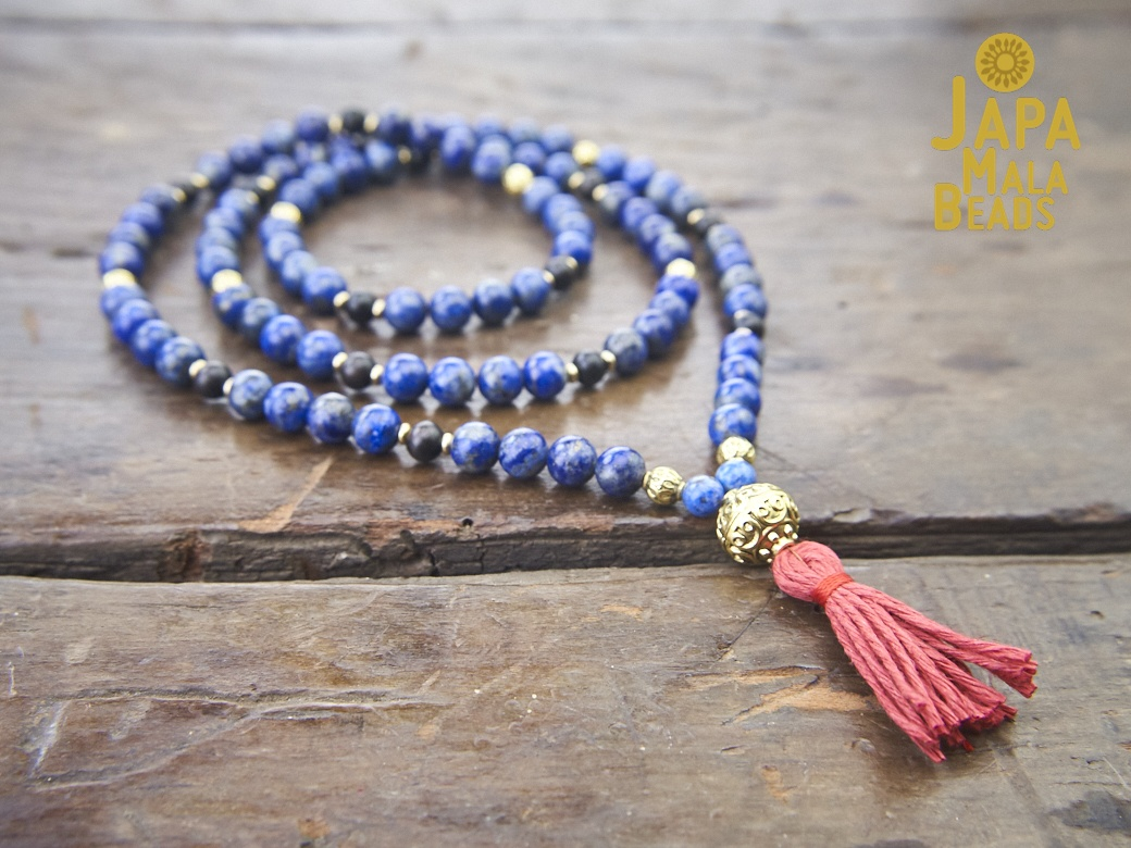 and Sodalite Inner Truth Prayer Beads Mala Necklace Lapis