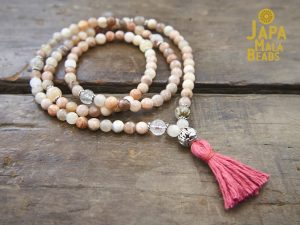 Peach Moonstone Necklace Mala