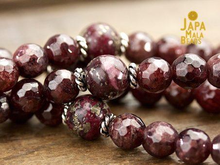 Garnet, Pyrite and Silver Mala Beads