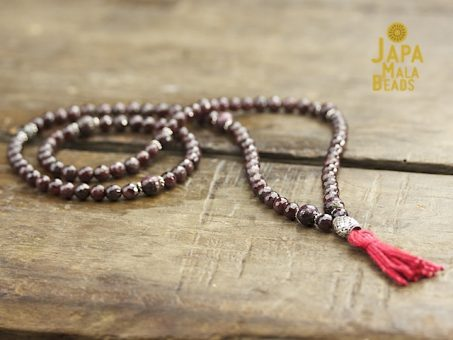 Garnet, Pyrite and Silver Necklace Prayer Mala