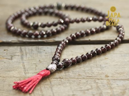 Garnet, Pyrite and Silver Necklace Mala