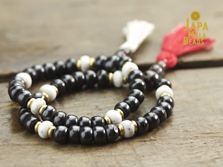 Dark Bone and Howlite Wrist Mala