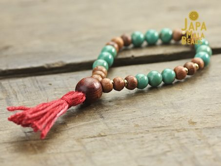 Turquoise and rosewood hand mala