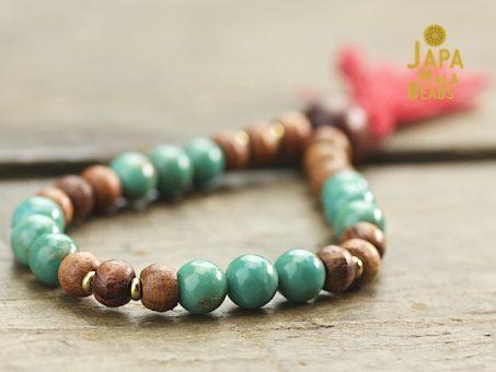 Turquoise and rosewood bracelet mala beads