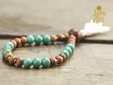 Turquoise and rosewood wrist mala beads