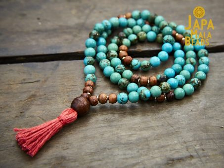 Turquoise and Rosewood Full Mala