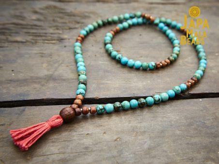 Turquoise and Rosewood Full Mala