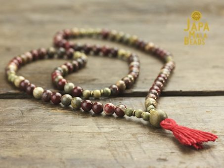 Apple Jasper Necklace Mala Beads