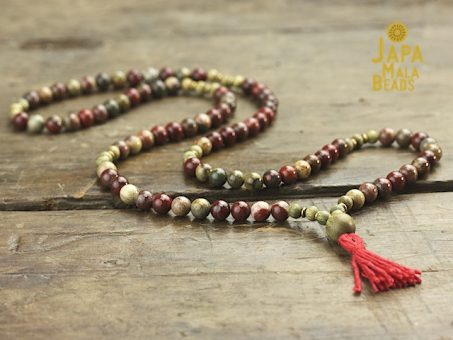 Apple Jasper and Green Sandalwood Necklace Prayer Beads