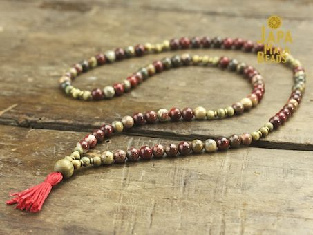 Apple Jasper and Green Sandalwood Necklace Mala Beads