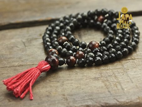 Black Obsidian & Red Tiger Eye Necklace Mala