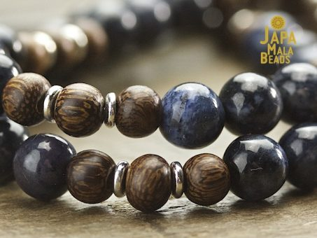 Dumortierite and Kakawate Wrist Mala Beads