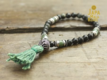 Black Serpentine and African Jade Wrist Mala