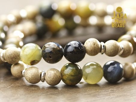 Golden Pietersite and Silkwood Mala